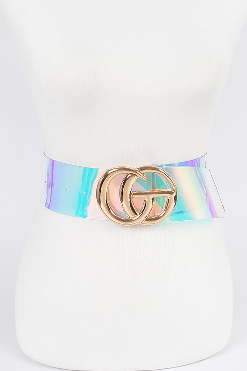 Final Sale Plus Size Clear or Iridescent PVC Curvy Girl (CG) Belt with Gold Buckle