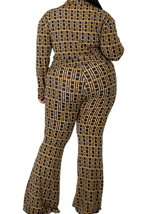 New Plus Size 2-Piece Top and Palazzo Pant Set in Mustard and Navy Chain Print