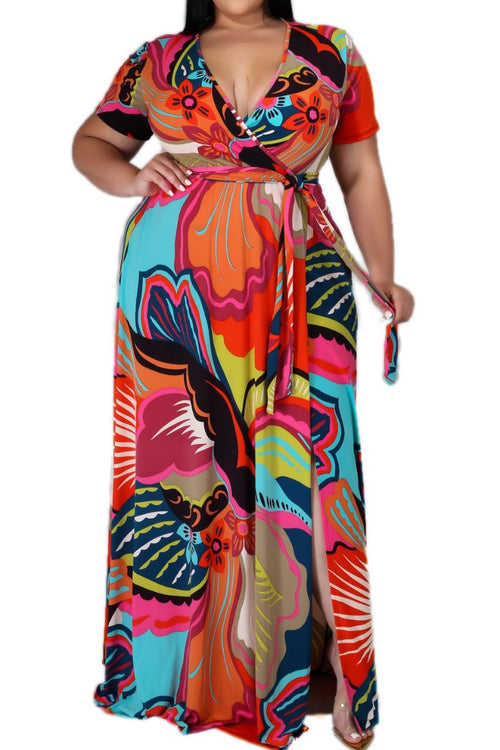 New Plus Size Faux Wrap Dress Maxi with Attached Tie in Tropical  Print