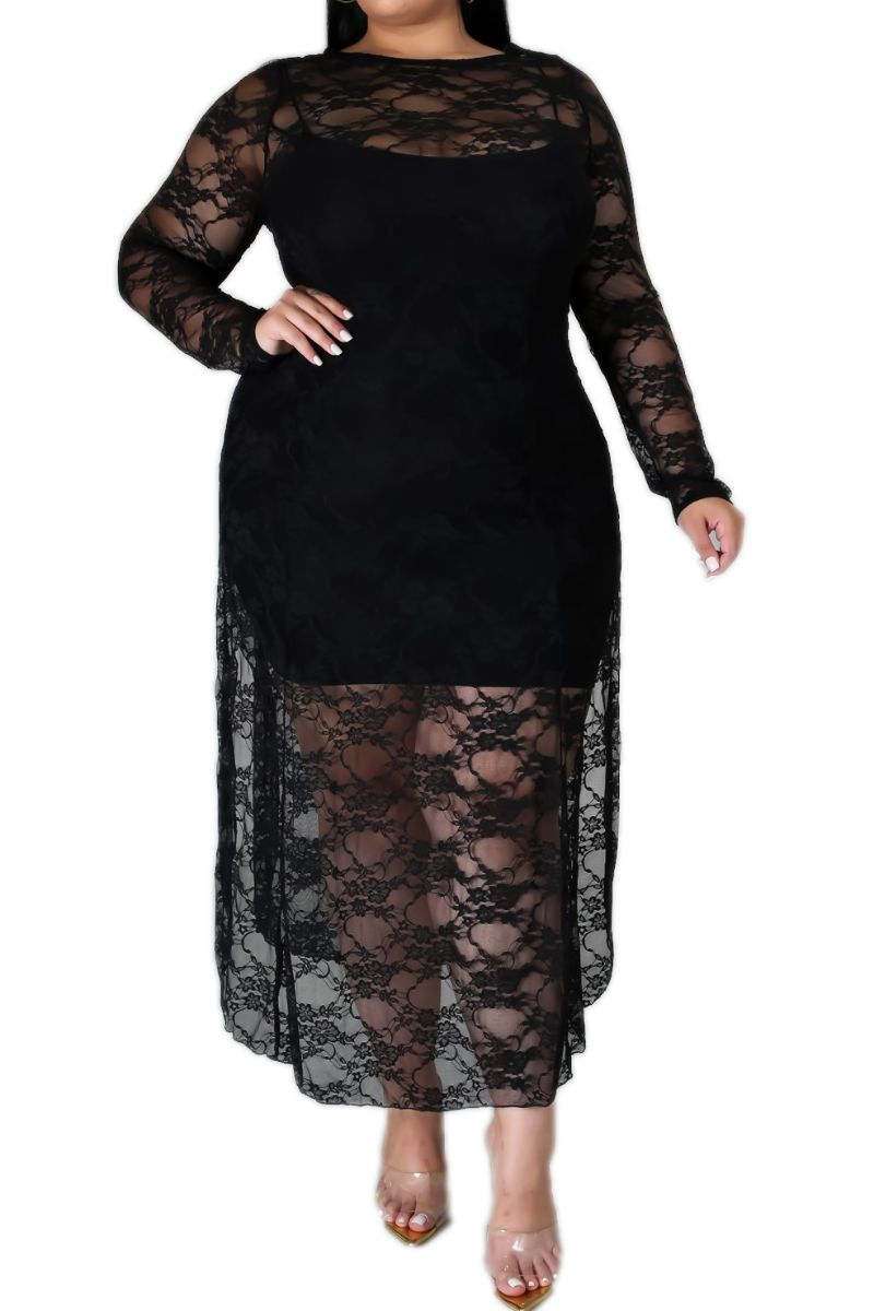 New Plus Size Dress / Coverup in Black Lace