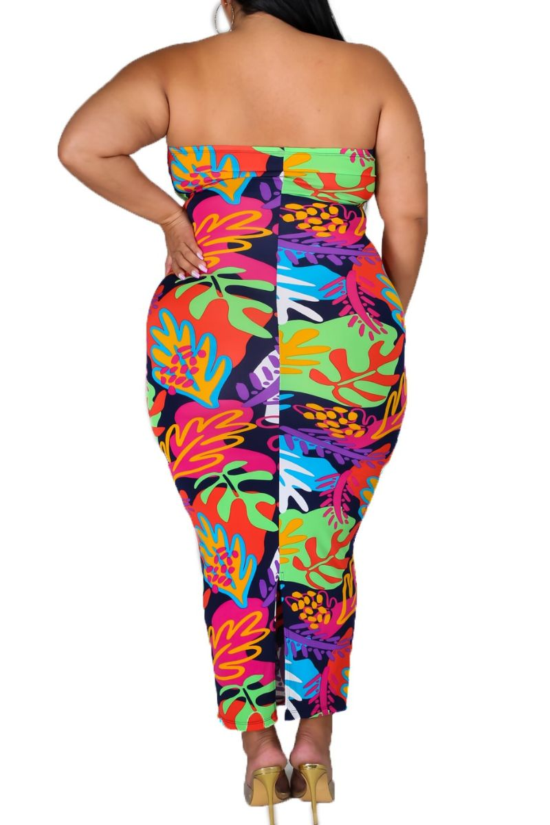New Plus Size Strapless BodyCon Dress in Multicolor Leaf Print