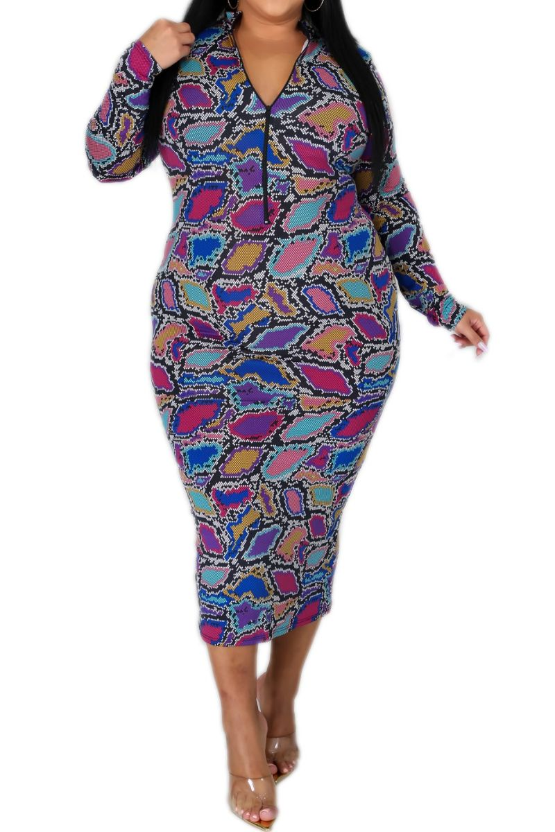 New Plus Size Reversible BodyCon Dress in Multi-Color Snake Print