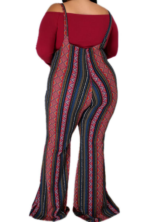 New Plus Size 2pc Tie Top & Overall Jumpsuit Set with Burgundy Top & Burgundy Multicolor Stripes