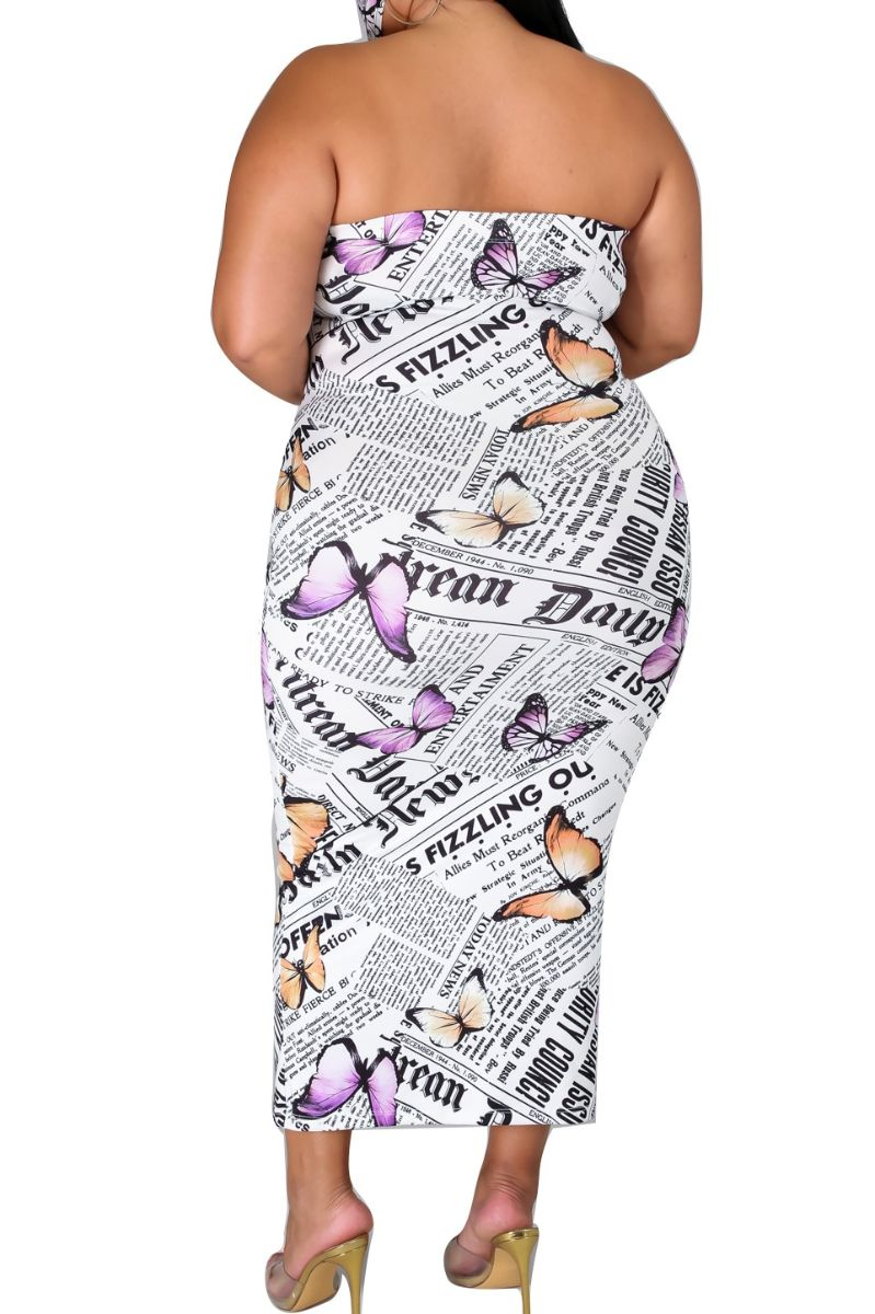 New Plus Size Tube Dress in Butterfly News Print