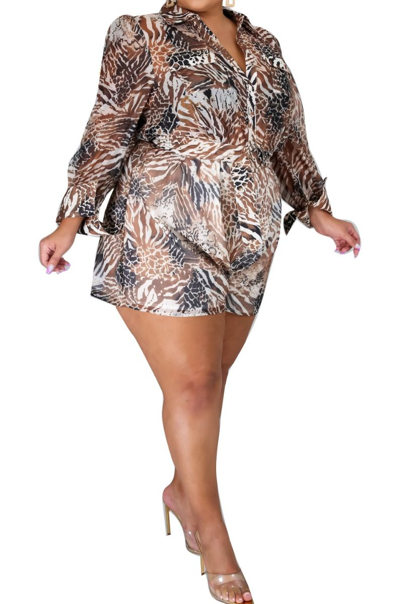 Preorder New Plus Size Chiffon Romper in Animal Print