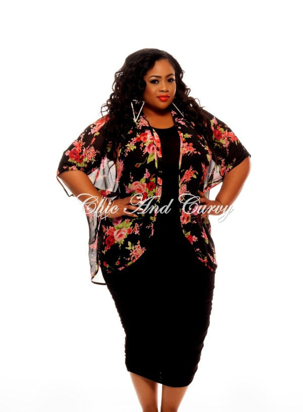 New Plus Size Short Sleeved Kimono in Black and Pink Floral Print