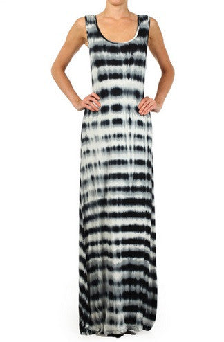 New Plus Size Sleeveless Maxi Dress Black and White Striped Tie Dye 1x