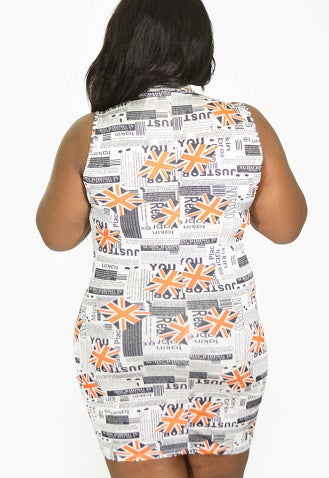 Final Sale Plus Size BodyCon UK Flag Dress in Orange