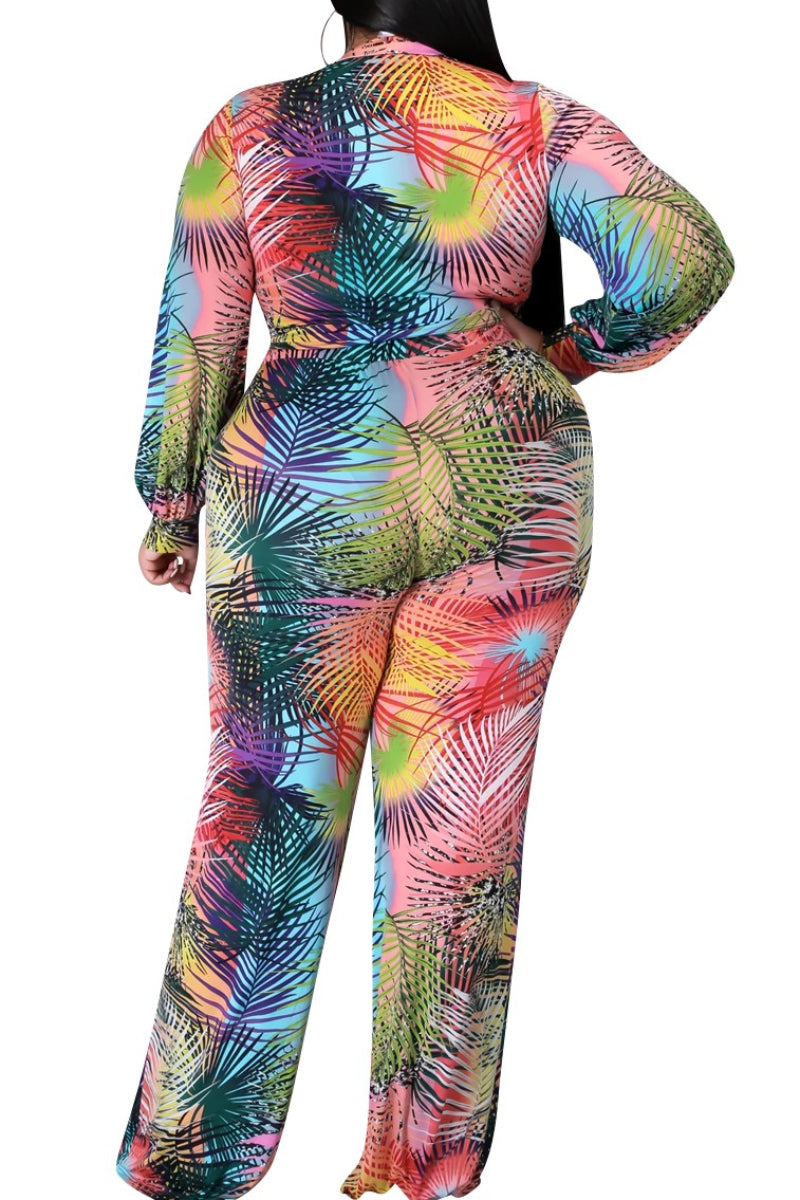 Final Sale  Plus Size 2-Piece Tie Crop Top and Palazzo Pant Set in Multi-Color Palm Print