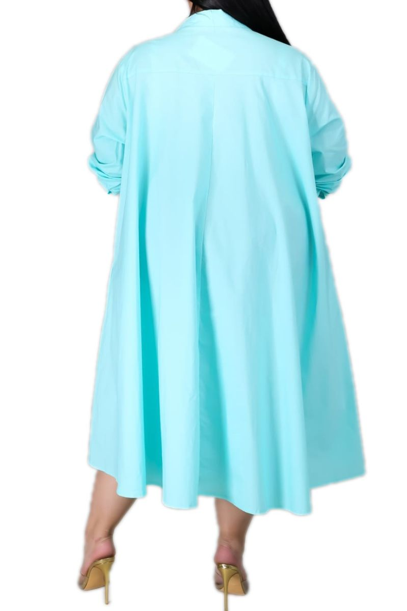 Final Sale Plus Size Hi-Low Shirt Dress in Mint