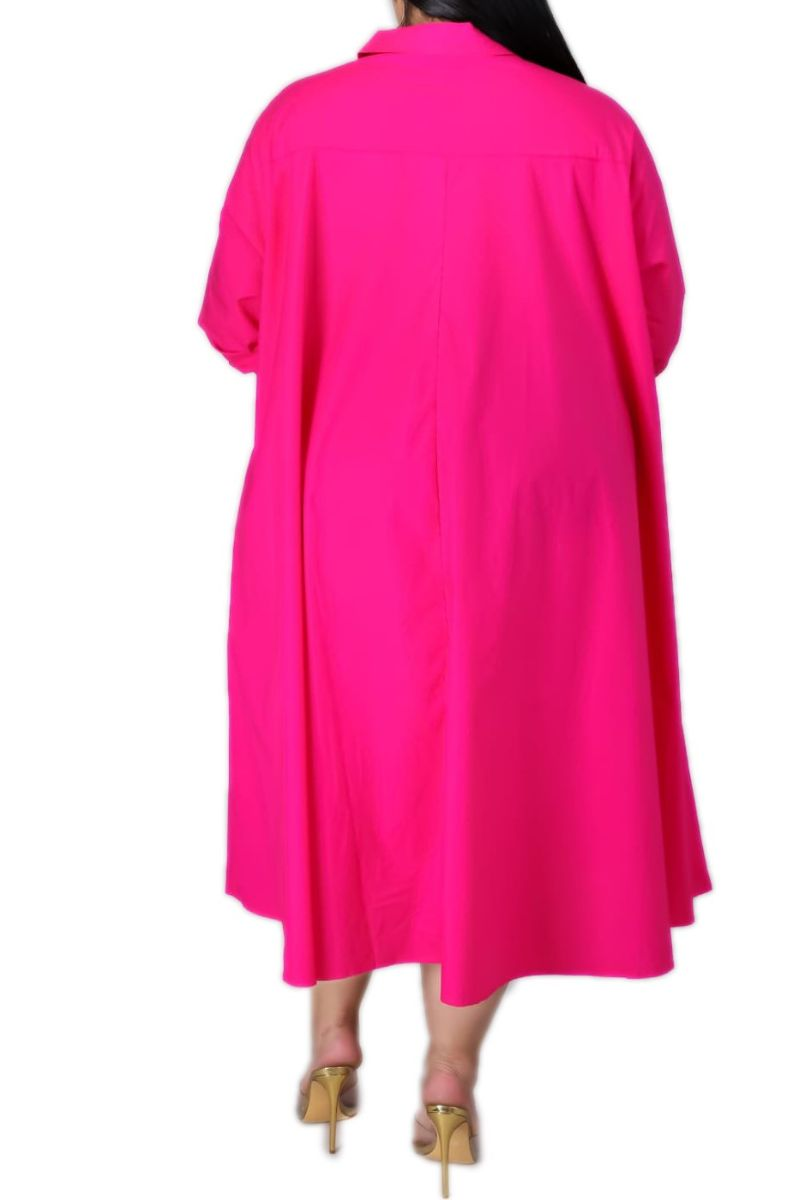 Final Sale Plus Size Hi-Low Shirt Dress in Fuchsia