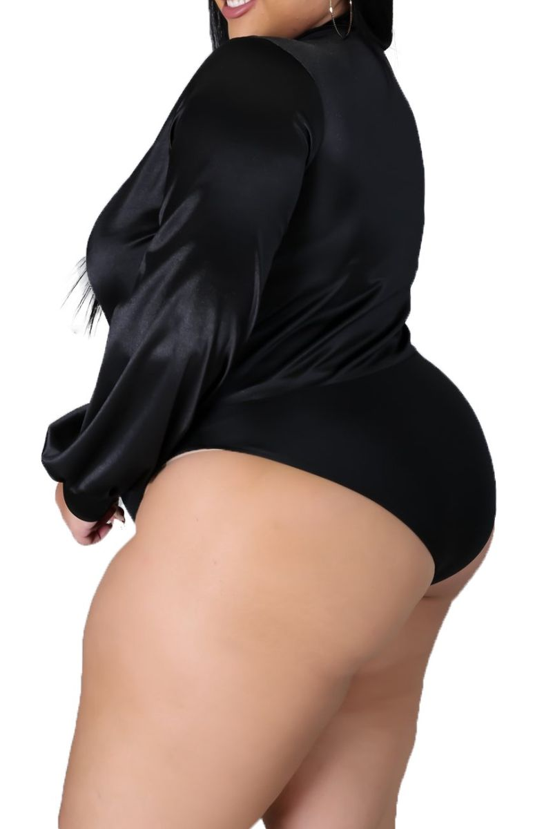 New Plus Size 2-piece Set (Bodysuit & Skirt) in Shiny Black