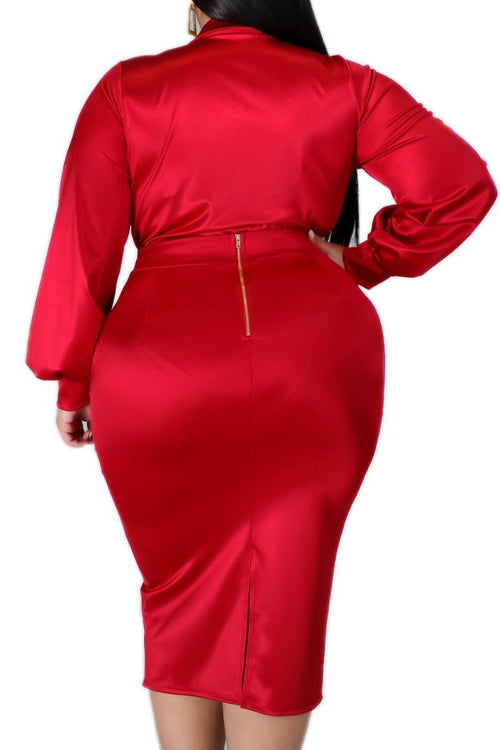 New Plus Size 2-piece Set (Bodysuit & Skirt) in Shiny Red