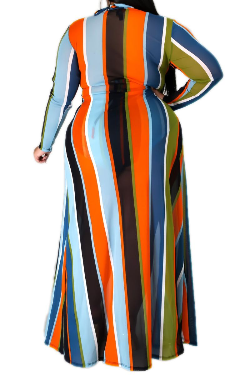 Final Sale Plus Size 3-Piece Poolside Playsuit (Top, High Waist Bottoms & Coverup) Set in Blue and Orange Stripe