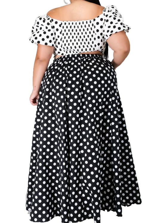 Final Sale Plus Size 2-Piece (Crop Top and Skirt) Set in Black and White Polka Dot Print