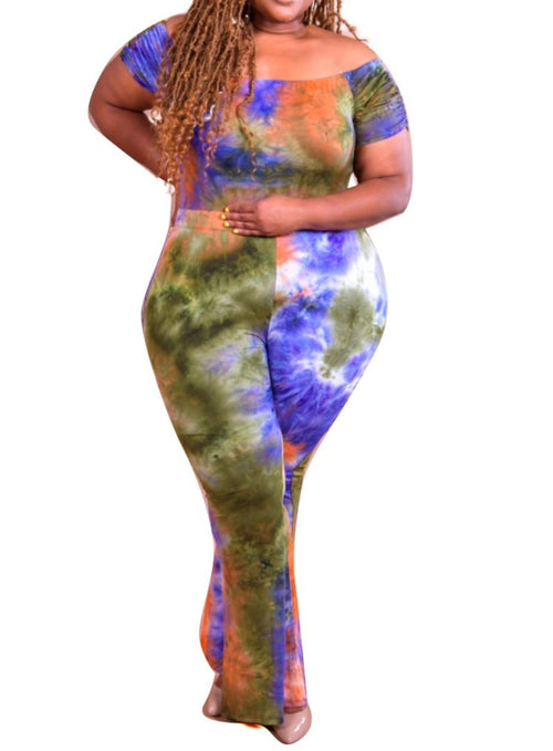 Final Sale Plus Size 2-Piece Set Off the Shoulder Bodysuit & Pants in Purple, Orange & White Tie Dye