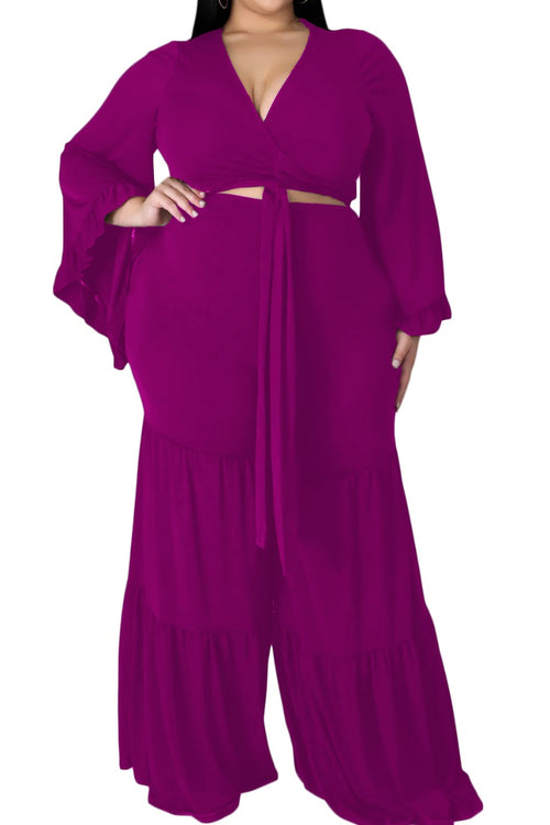 Final Sale Plus Size 2-Piece Long Sleeve Crop Tie Top and 3-Layer Pants Set in Fuchsia
