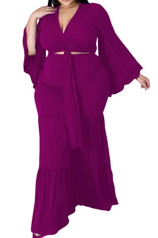 Final Sale Plus Size 2-Piece Tie Front Crop Top & Maxi Skirt Set in Red, Purple and Green
