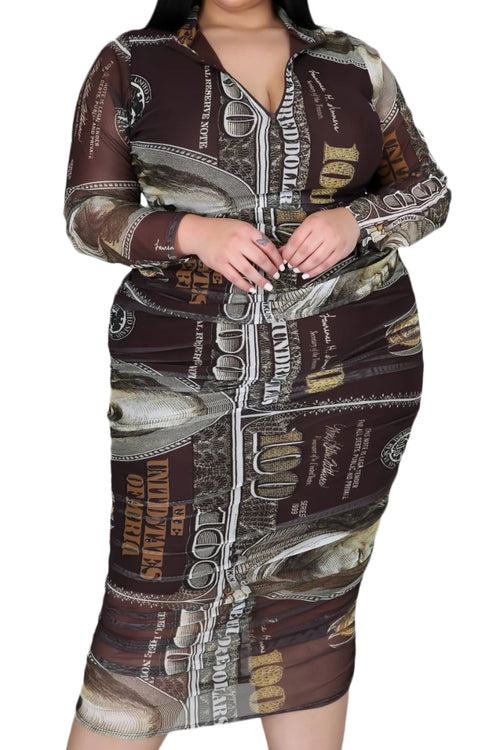 Final Sale Plus Size Mesh Ruched Dress in Brown Money Print