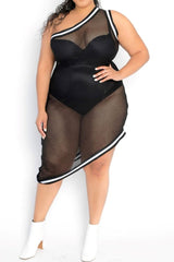 Final Sale Plus Size One Shoulder Net Dress/Cover Up in Black