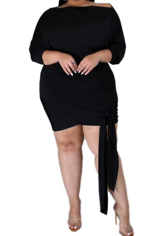 New Plus Size Off The Shoulder Bodycon Dress with Leg Tie