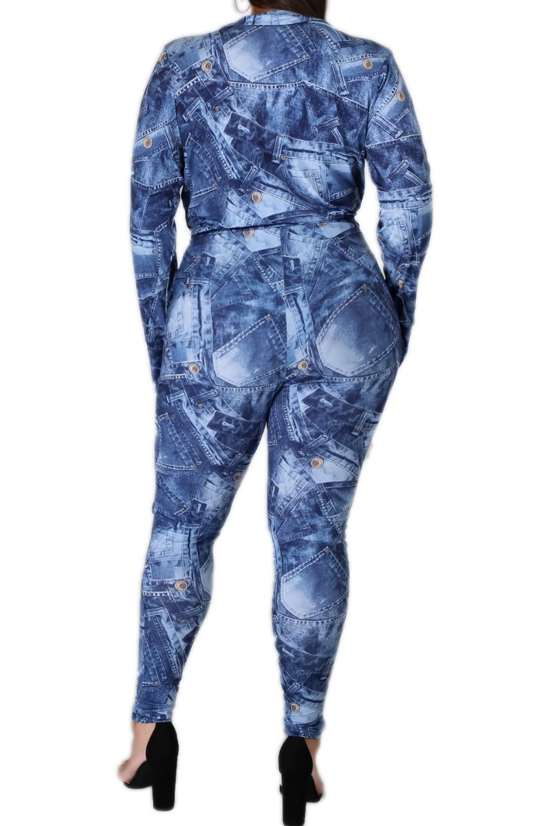 Preorder New Plus Size 2-piece Set with Bodysuit and Matching Pants in Faux Denim with Button Print