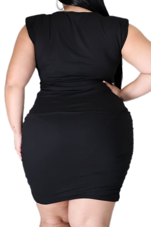 *Deal of the Day Final Sale Plus Size Sleeveless Dress with Shoulder Pads in Black