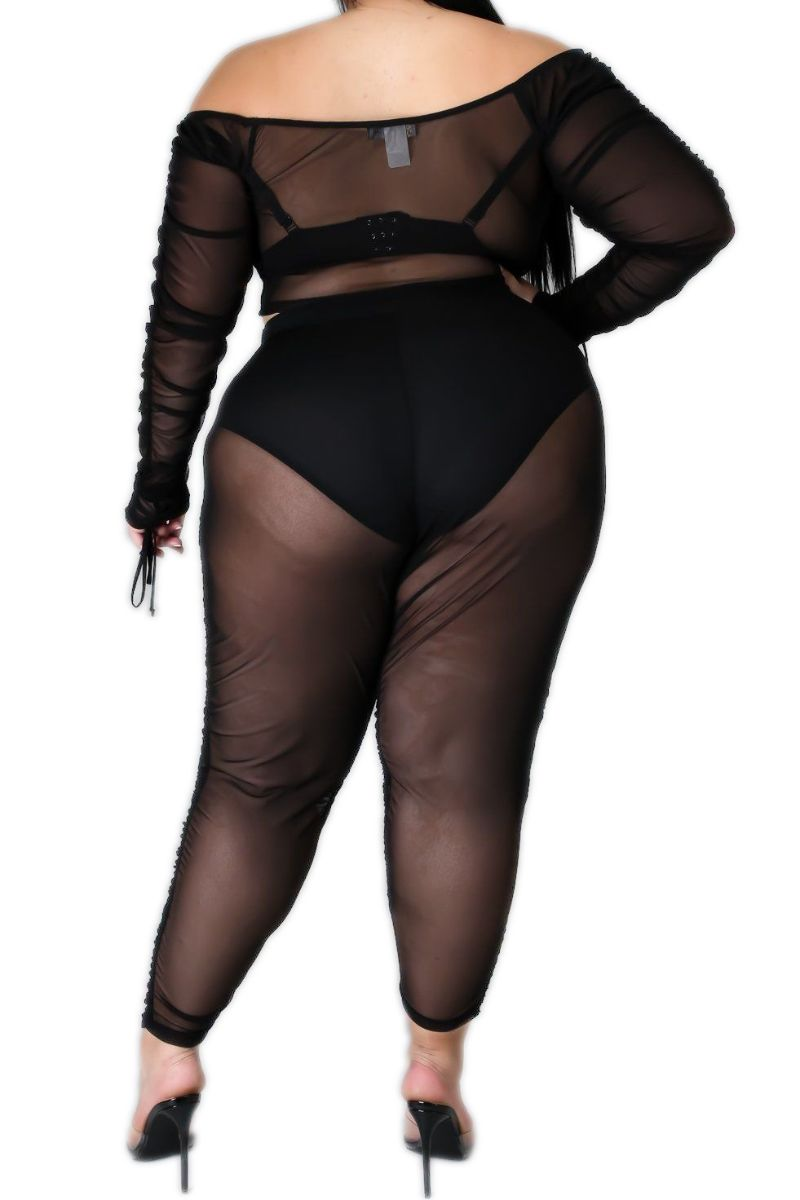 Final Sale Plus Size Mesh Set with Ruching Details