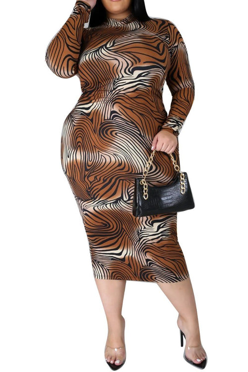 New Plus Size Reversible BodyCon Dress in Brown