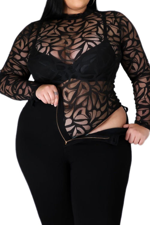 Final Sale Plus Size Sheer Mesh Vine Print Bodysuit in Black