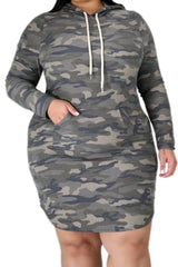 New Plus Size Jogger Dress with Pockets in Camouflage