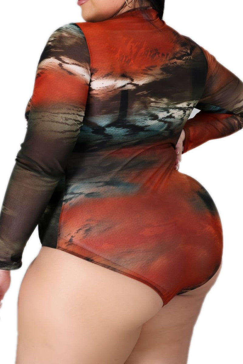 Final Sale Plus Size Mesh Bodysuit in Dark Multi-Colors