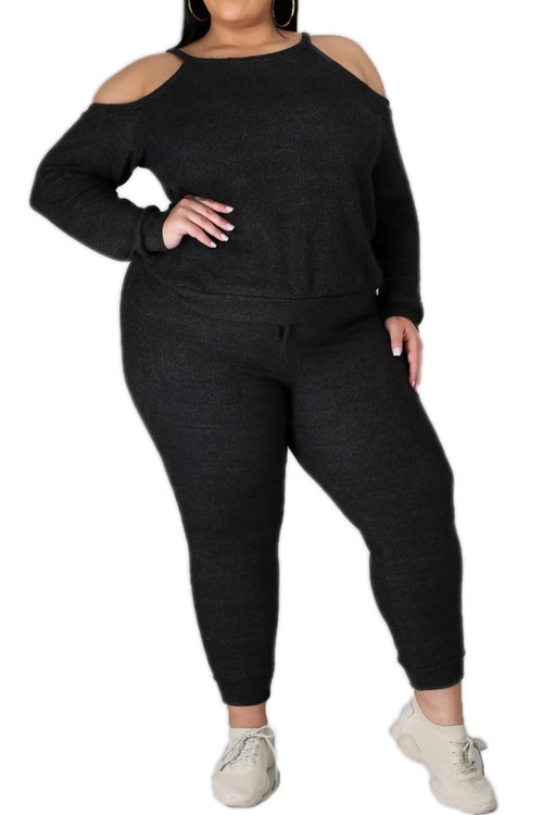 New Plus Size 2pc (Top & Jogger) Set In Charcoal