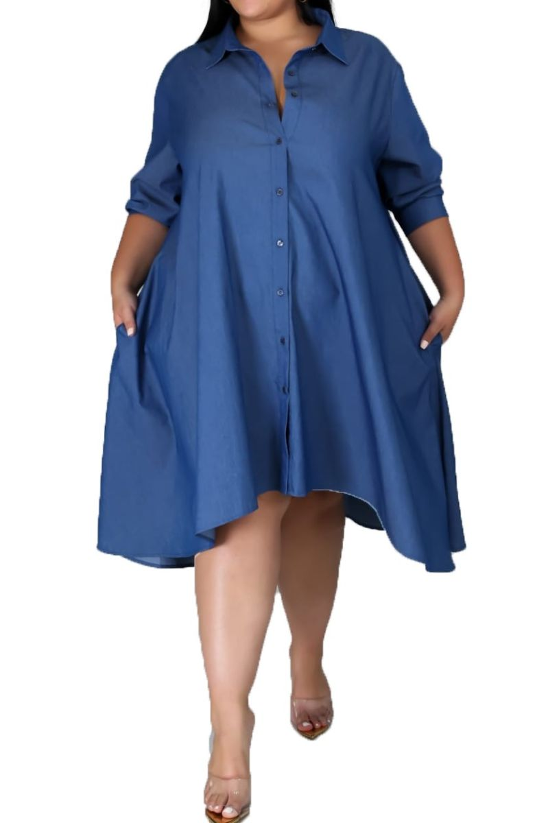 New Plus Size High-Low Shirt Dress in Blue Chambray