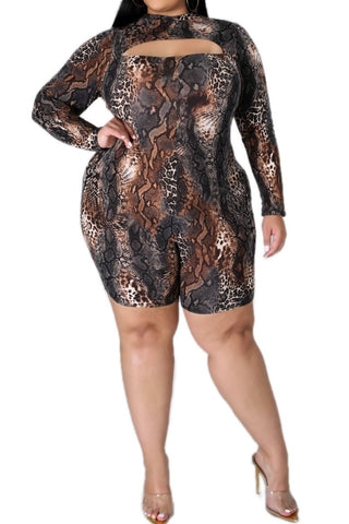 New Plus Size Tube Romper in Olive and Ivory Tie Dye Print