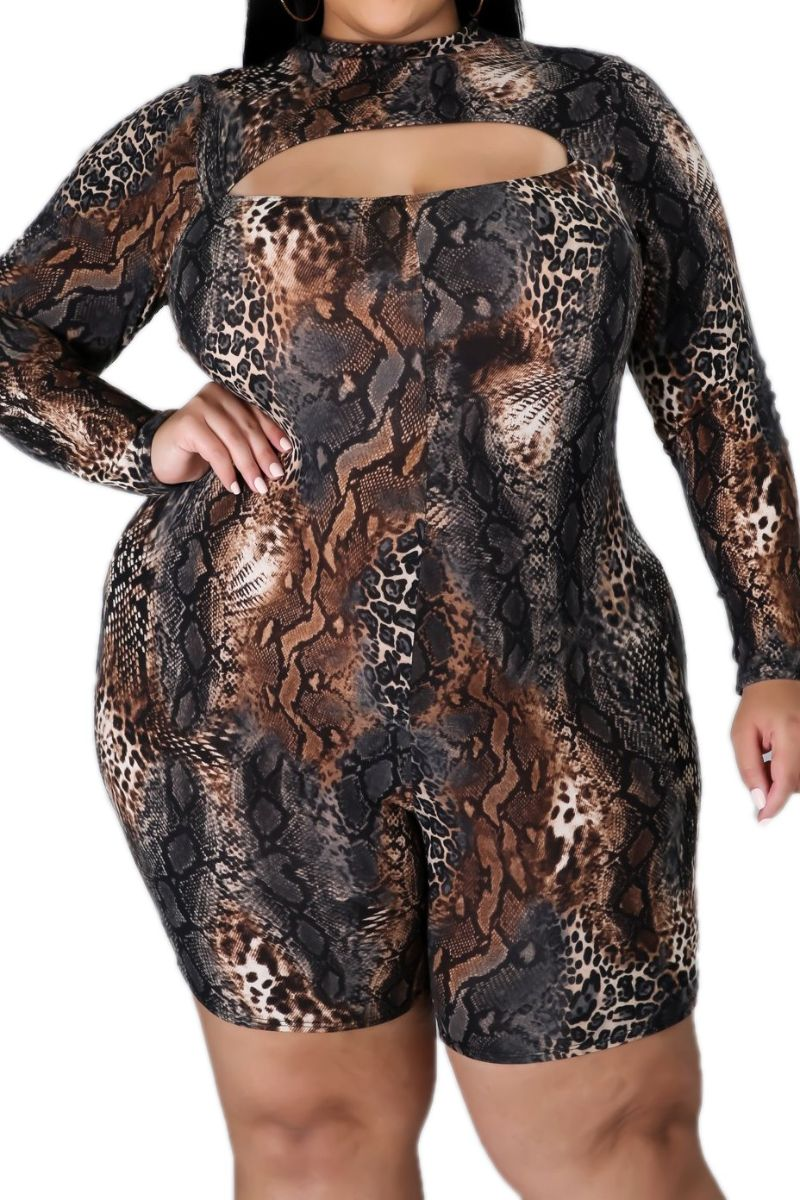 New Plus Size Cutout Romper in Snake Print