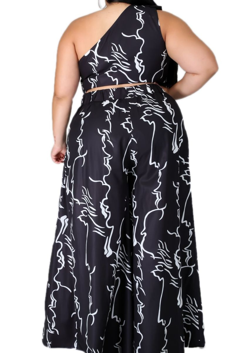 New Plus Size 2pc One Shoulder Top & Palazzo Pants in Black White Design