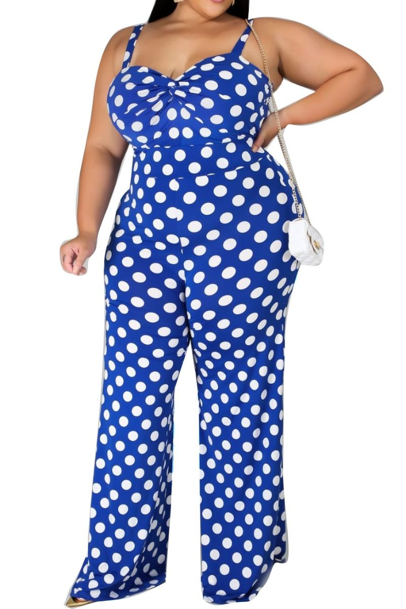 Final Sale Plus Size Jumpsuit in Blue with White Polka Dots