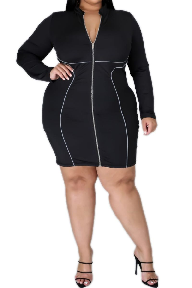 New Plus Size BodyCon Dress in Black with Grey Piping