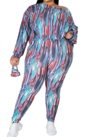 New Plus Size 2 pc Set Tank Bodysuit & Jogger Pants in Multi-Colors