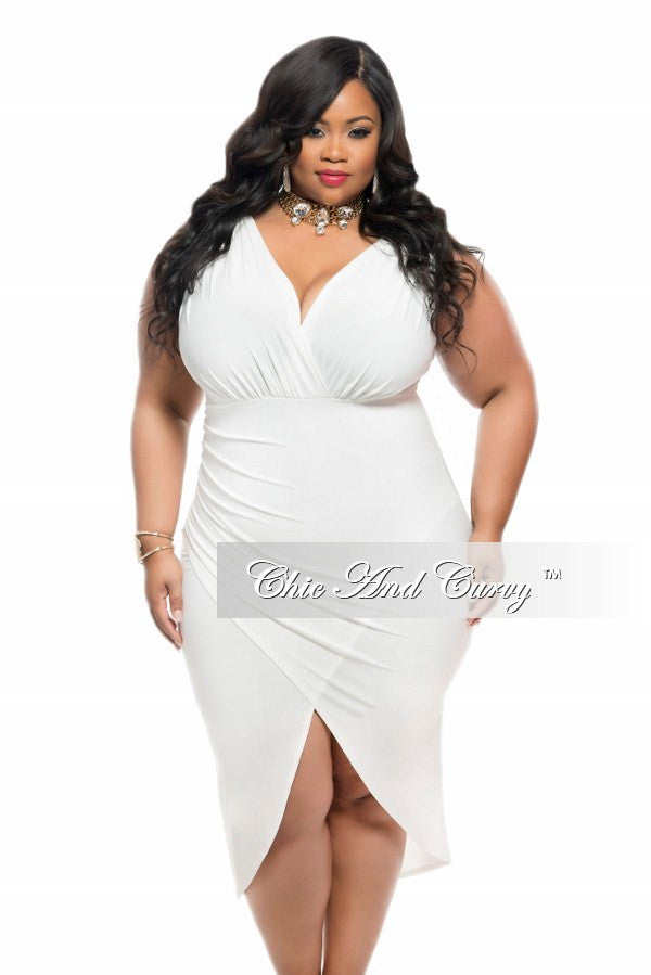 Final Sale Plus Size BodyCon Sleeveless Dress with Tulip Bottom in Ivory White