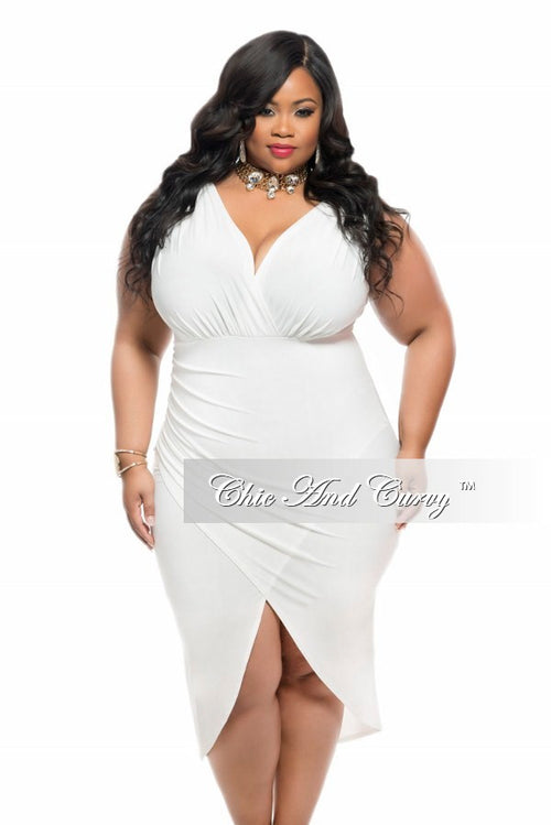 35% Off Final Sale Plus Size BodyCon Sleeveless Dress with Tulip Bottom in Ivory White