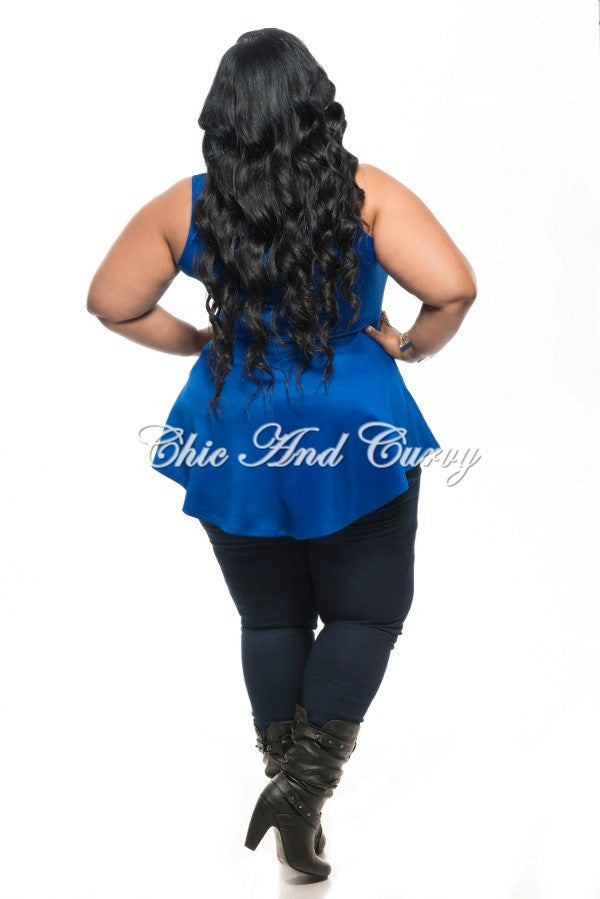 New Plus Size Top Tank Sleeve Peplum Flair Bottom in Blue