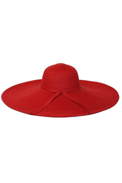 Final Sale Wide Brim Sun Hat in Red