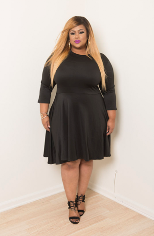 Final Sale Plus Size Skater Dress with 3/4 Sleeves in Black