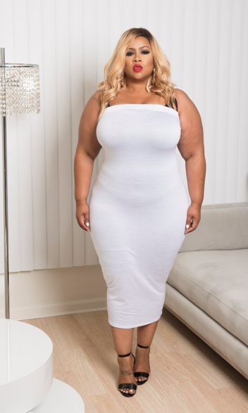 Final Sale Plus Size BodyCon Tube Dress in White