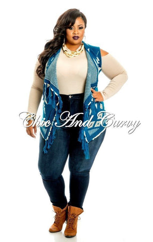 Final Sale  Plus Size Deep-V Bell Sleeve Romper in Indigo Blue