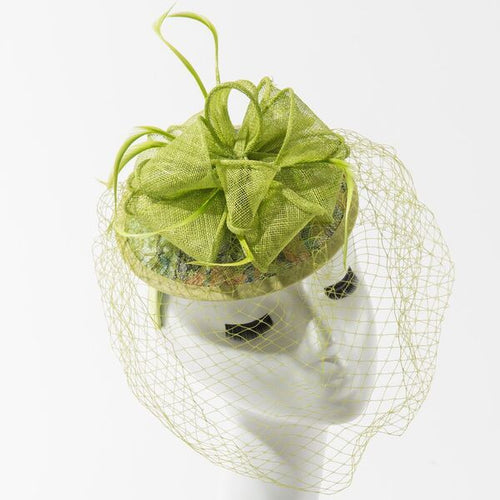 Final Sale Fascinator Hat with Bow in Lime Green