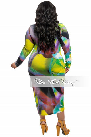 Final Sale Plus Size BodyCon Dress with Slanted Ruched Front in Lime Green Print