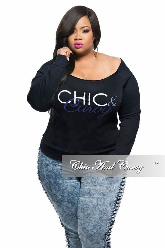 Final Sale Off the Shoulder Chic And Curvy Sweatshirt in Black